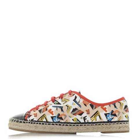 Fendi Junia Vintage-Print Lace-Up Espadrilles 36