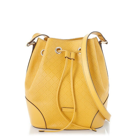 Gucci Yellow Diamante Bucket Bag