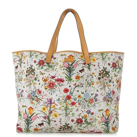 Gucci Floral Canvas Tote Bag