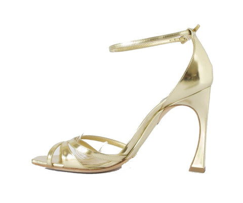 Christian Dior Gold Ankle-Wrap Sandals 37.5