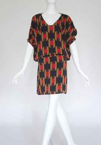 DVF Tribal Printed Silk Mini dress (Size XS)