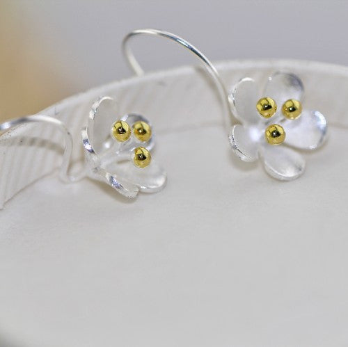 plum blossom Silver Earrings hook