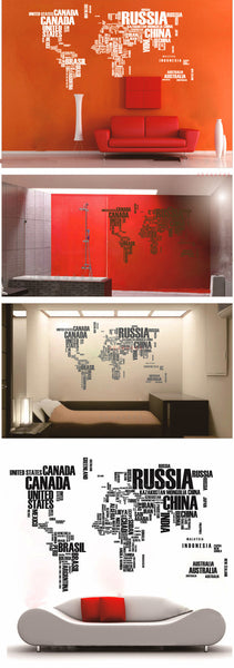 Words World map  wall decal map decor