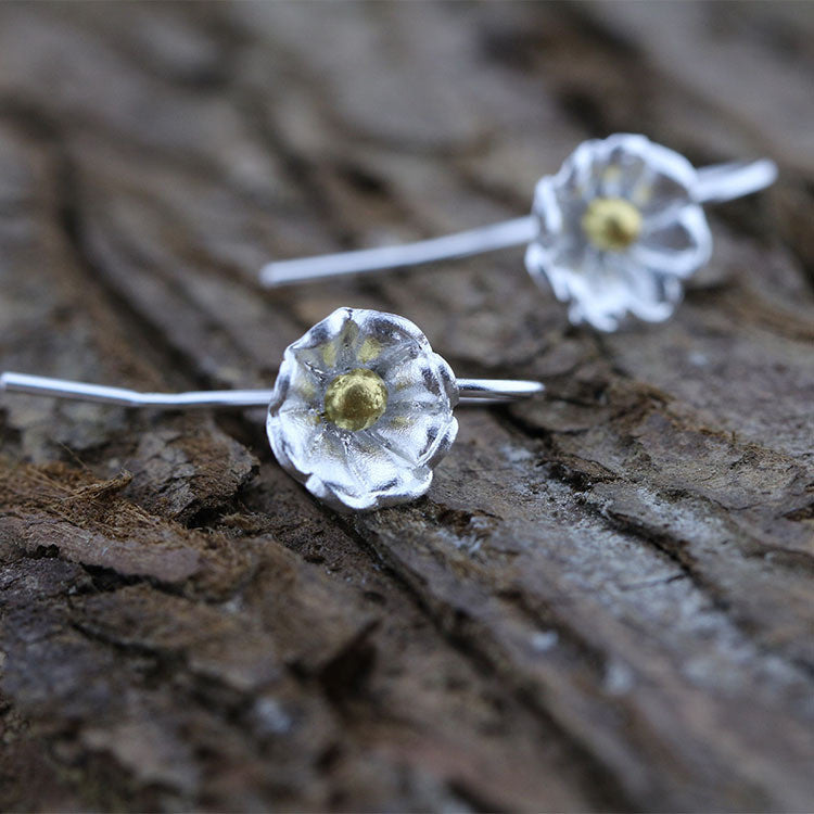 Brushed Flower Silver Earrings