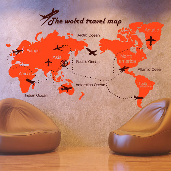 Large world map wall decal with Plant Rine  for room decor - WallDecal
