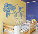 World Map Wall Decal   Wall Decor