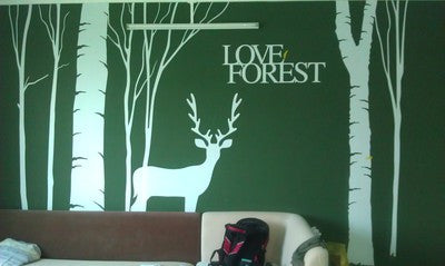 Deer Wall Vinyl-Deer Wall Decor-Living room Deer Wall decor-Bedroom deer wall sticker - WallDecal