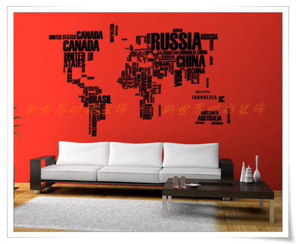 Words World map  wall decor Vinyl - WallDecal