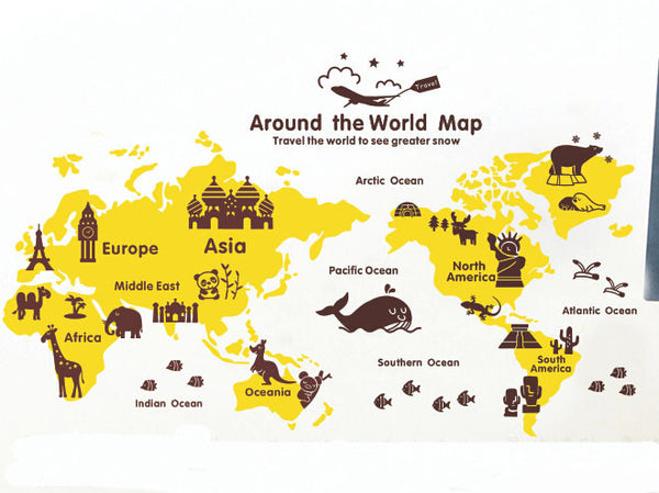 Kid World map wall decal for baby nursery room - WallDecal