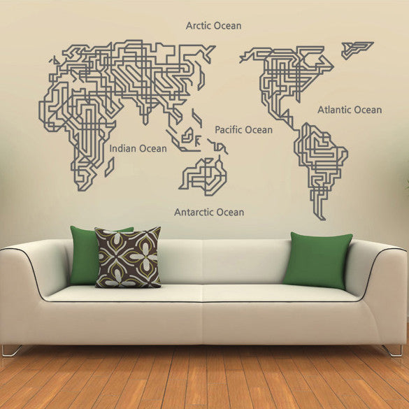 World Map Wall Decal Home Decor World Map Wall Sticker Wall Decor - WallDecal