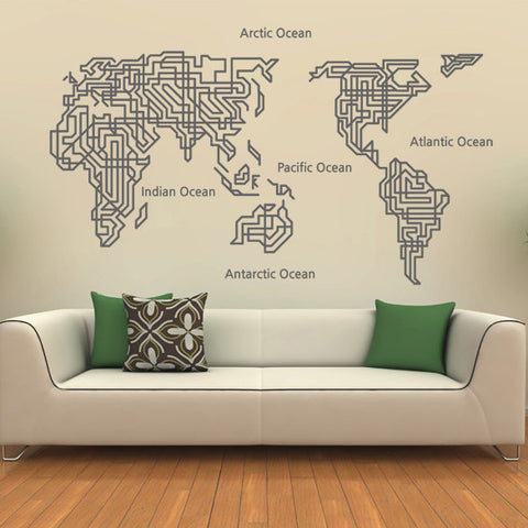 2、World Map With Plant Line Wall Decal Part 77