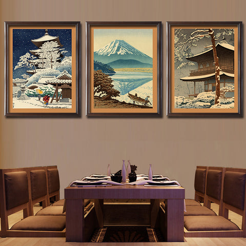 Yamato-e Painting Print Framed For Home Decorative Ready To Hang