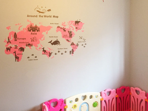 Kid map wall decal