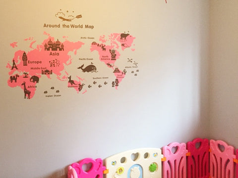 Map Of The World Decal.Kid World Map Wall Decal For Baby Nursery Room Ellaseal