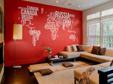 Text World map wall decals