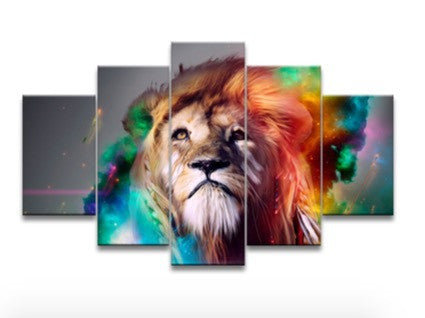 5 piece canvas art set  Panel oil painting art canvas Wall Hanging Picture color lion art posters