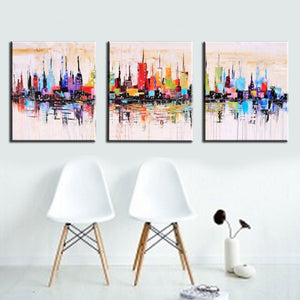 Unframed 3panel Handpainted Abstract City Landscape Palette Knife Oil Painting For Living Room Wall Art Unique Gift