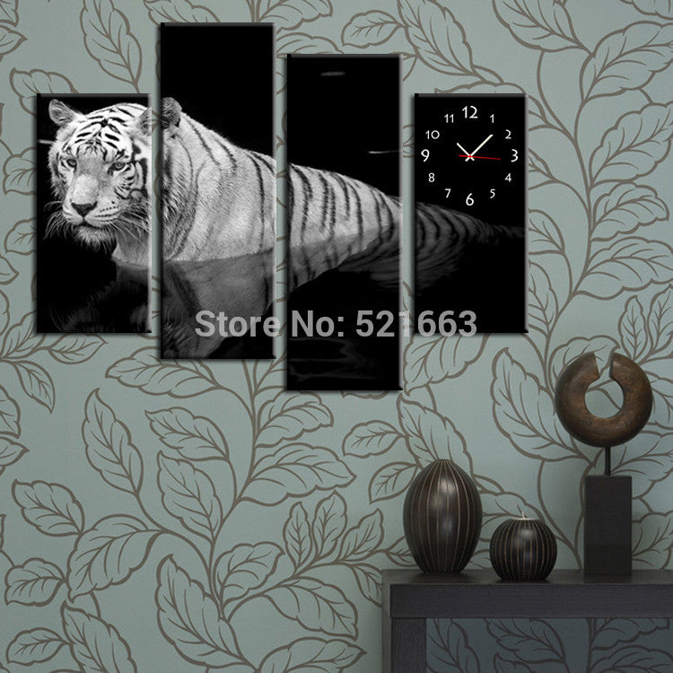 Free Shipping E-HOME Tiger Clock in Canvas 4pcs wall clock