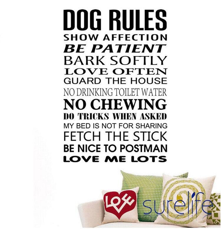 Vinyl Removable Dog Rules Quotes Wall Decals Wall Stickers For Home Decoration Size85*58cm