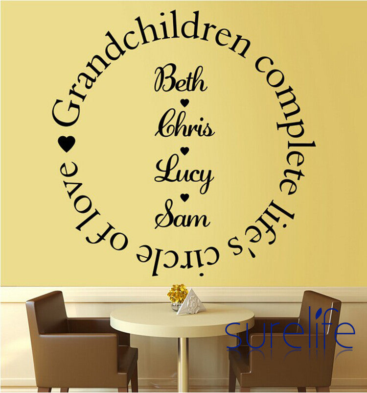 Vinyl  Grandchildren Complete the Circle of Love Wall Quote Wall Decal Waterproof Wallpaper Home Decoration Size 58*58cm
