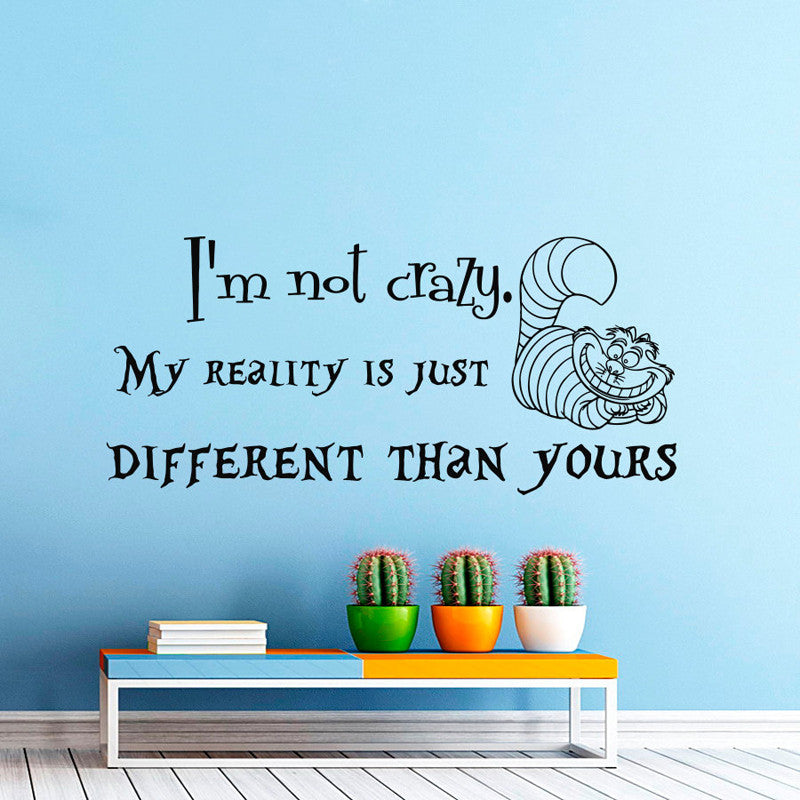 Wall Decals Quotes Alice in Wonderland Wall Decal Quote Cheshire Cat Sayings I'm Not Crazy Wall Vinyl Decals Nursery Home Decor