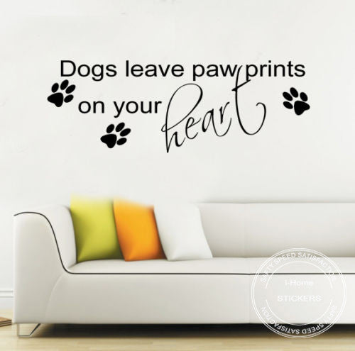 DIY Removable Large dogs leave Paw Prints Wall Sticker Quote Vinyl Decal Mural Art Transfer Size 99*35cm