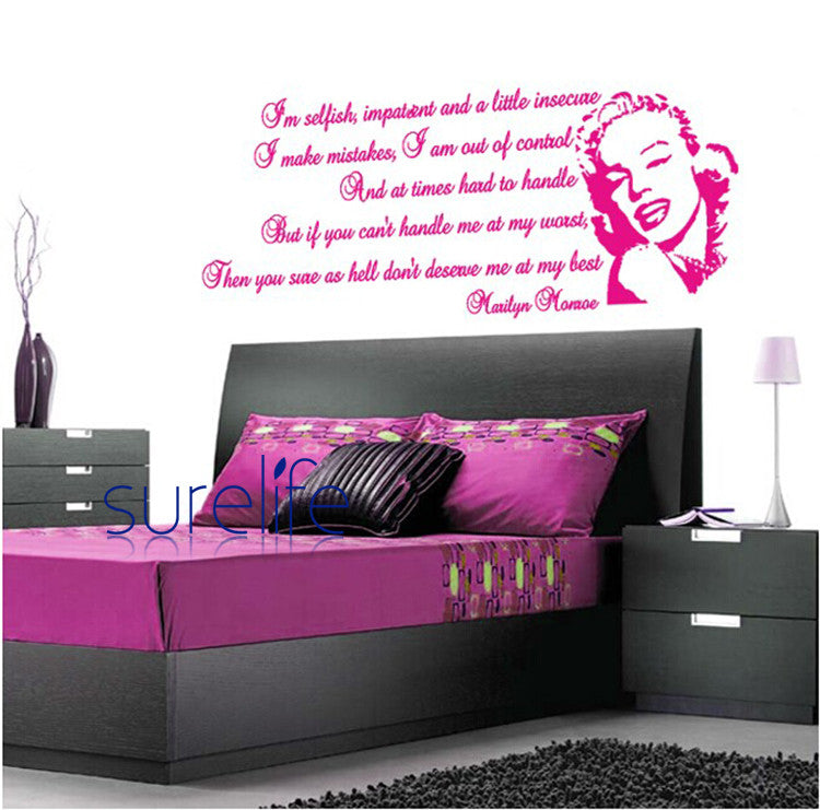 New 2015 Removable Vinyl I'm Selfish Wall Quotes Marilyn Monroe Wallpaper Wall Art Decals Stickers For Living Room Size 141*58cm