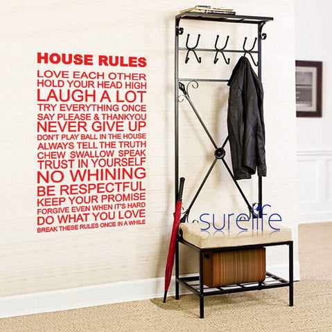 New 2015 Removable Vinyl House Rules Wall Quotes Wallpaper Wall Art Decals Stickers Living Room Home Decor Size 96*58cm