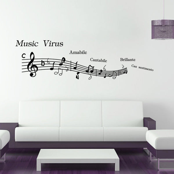 2016 New Music Note Pattern Wall Stickers Home Decor Decoration Art For Wall Removable Waterproof Black 38*57CM