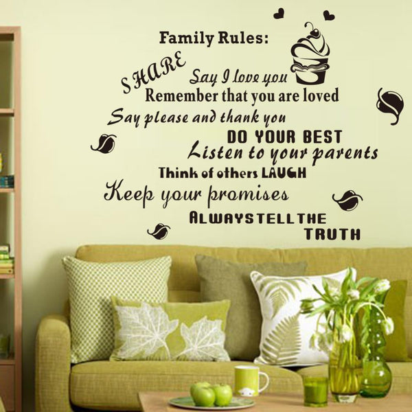 New Style Letter House Rule Waterproof Removable Decals Home Decor Wall Sticker