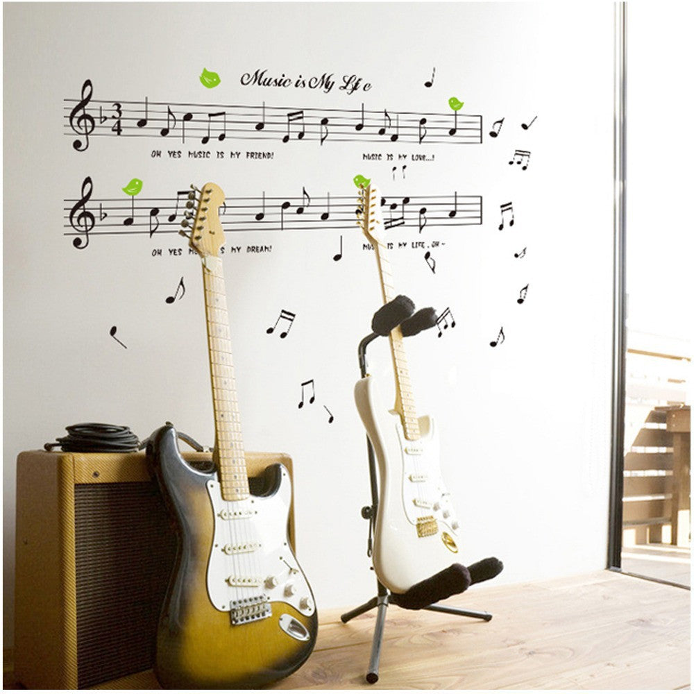 1set Large Size 70*120cm Music Sticker Music Is My Life Theme Music Bedroom Decor & Dancing Music Note Removable Wall Sticker
