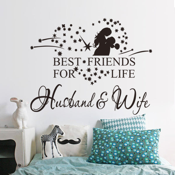 "Pattern characters ""Hasbant Wife"" 2016 Living Room Backdrop Removable Waterproof Vinyl love wall sticker home decoration"
