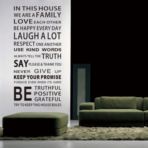 In dit huis engels diy glas vinyl muurstickers home decor woonkamer sofa muurstickers decoratie behang schilderen