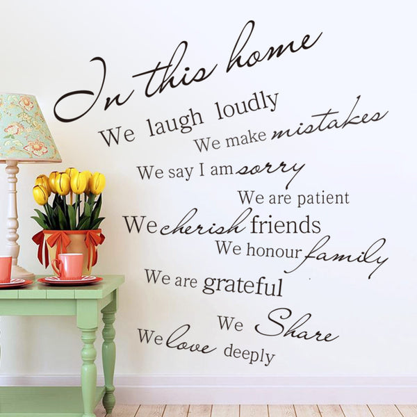 "2016 Modern PVC Characters ""Family is everything"" Wall Stickers Home Decoration Butterfly Sticker Removable"