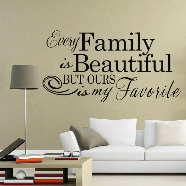 "Characters ""Family Beautiful"" Wall Sticker Living Room Removable wall stickers home decor decoracion PVC Black 57*110CM"