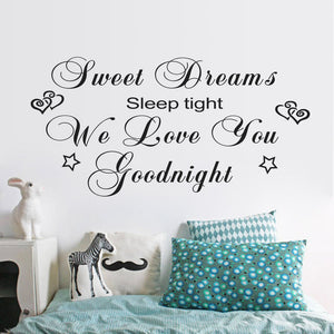 "Characters ""Dreams Love Goodnight"" Wall Sticker Bedroom Removable wall stickers home decor decoracion vinylBlack 57*114CM"