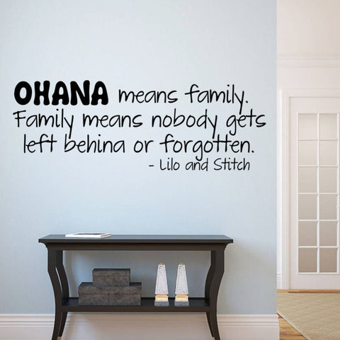 OHANA means family fashion design cartoon wall sticker film Lilo and Stitch appointment kids wall 3D stickers vinyl