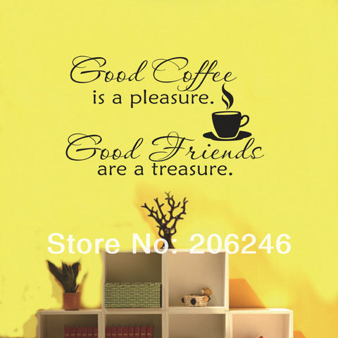 Hot Sale 2014 New Design-Good Coffee Friends Wall Vinyl Sticker Decal Quote Saying Kitchen Decor Free Shipping