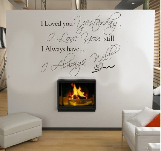 "2015 New Characters ""I love you yesterday"" Wall stickers home decor decals Modern Black 56*45CM Size"