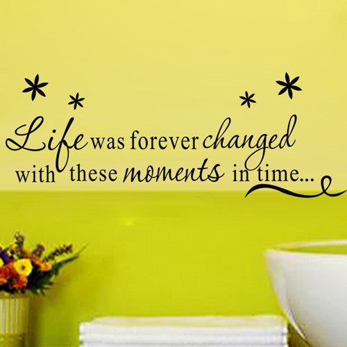 "New Design ""Life Forever Changed"" PVC Removable Wall Sticker Decor for bedroom living rooms"