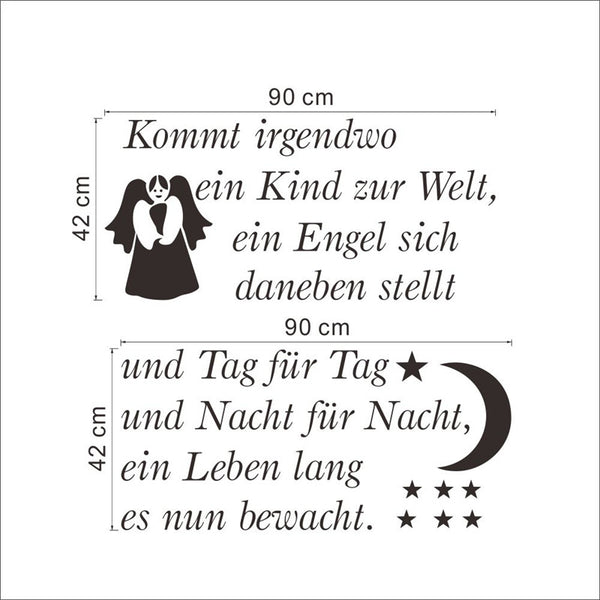 german quotes wall stickers living bedroom decoration 003. angel bless zitate wandaufkleber diy vinyl home decals art 3.5