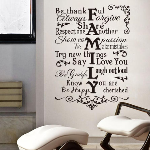 Newly Design FAMILY Wall Sticker For Home Decal  Family Quote Wall Decal ecorating DIY Custom Colors Quote Wall Decal