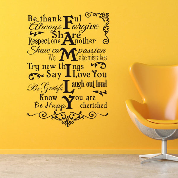 Creative Family Rules quote home declas wall stickers removable waterproofing house living room wall art FAMILY ZY8224
