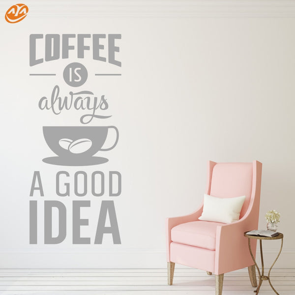 AYA DIY Wall Stickers Wall Decal,  COFFEE & IDEA English Words PVC Wall Stickers M24*55cm/L42*96cm
