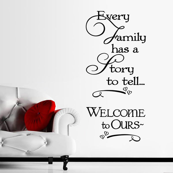 AYA Welcome to Ours wall stickers every Family has a story quotes wall decals decorative removable heart Home Decor57*124cm