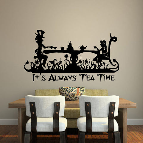 It Is Always Tea Time Quotes Alice In Wonderland Vinyl Wall Sticker Home Room Decor Mad Hatter Tea Party Wallpaper D-180