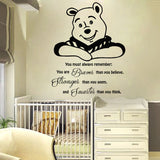 Cartoon Wall Decal Quote  Winnie the Pooh Vinyl Sticker Nursery Murals Home Decor Kids Girls boys Mural DIY Decoration  M-61