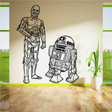 Star Wars R2D2 and C3PO Droids duo  SET Vinyl Wall Art Sticker Living Room Curved Movie Wall Decal DIY Decoration Mural D-37