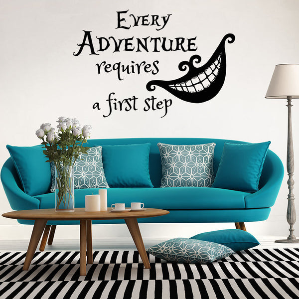 Quotes Cheshire Cat Alice in Wonderland Wall Decal Kids Room Nursery Art Vinyl Sticker Home Decorative Wall Murals DIY M-64