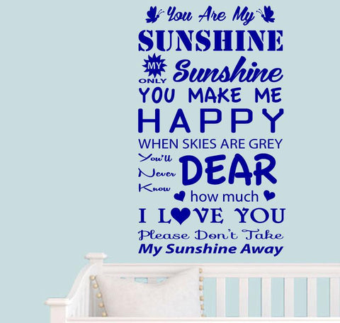 Wall Stickers Quotes you are my SUNSHINE Decals Vinyl Removable Mural Art Baby Quotes Decals Children Room Decor KW-148